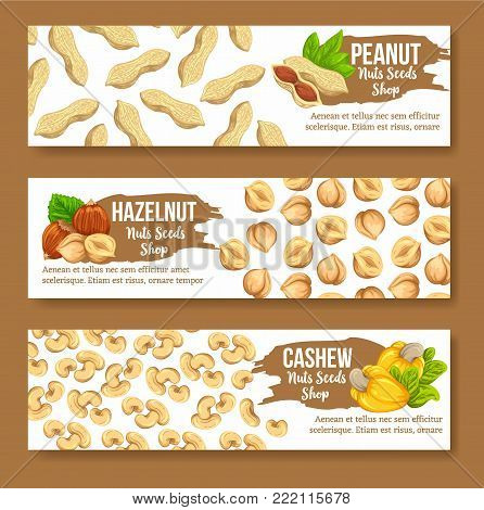 Set of colourful horizontal banners with nuts. Vector templates. Realistic kernels layoutes are good for advertising kernels products.