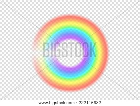 Rainbow round with limpid section edge isolated on transparent background. Realistic rain arch in circle shape. Vector illustration