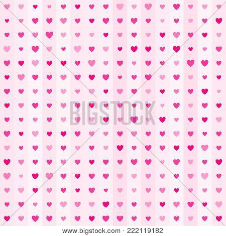 Cute little hearts in seamless pattern. Small heart shapes in different sizes and colors for Valentines Day background. Vector illustration. Bright pink hearts. Vector seamless pattern. Hearts mosaic.