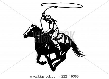 Silhouette of cowboy with rope lasso on horse