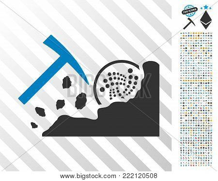 Mining Iota Rocks pictograph with 7 hundred bonus bitcoin mining and blockchain pictograms. Vector illustration style is flat iconic symbols design for blockchain apps.