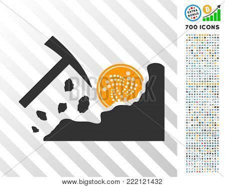 Mining Iota Rocks pictograph with 700 bonus bitcoin mining and blockchain clip art. Vector illustration style is flat iconic symbols design for cryptocurrency software.