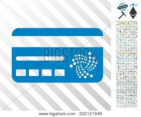 Iota Banking Card icon with 700 bonus bitcoin mining and blockchain images. Vector illustration style is flat iconic symbols design for bitcoin apps.