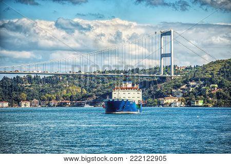 ISTANBUL, TURKEY: View of Fatih Sultan Mehmet Bridge and asian side of Bosphorus on October 3, 2017