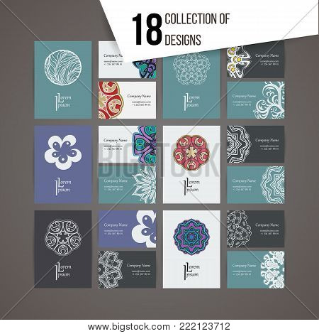 Set of vector design templates. Brochures in random colorful style. Vintage frames and backgrounds. Business card with floral circle ornament and doodle elements. Mandala style.