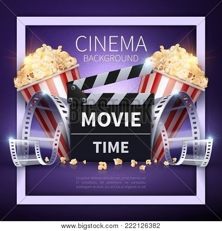 Cinema vector poster. Online movies and entertainment industry background. Illustration of cinema movie banner for entertainment video