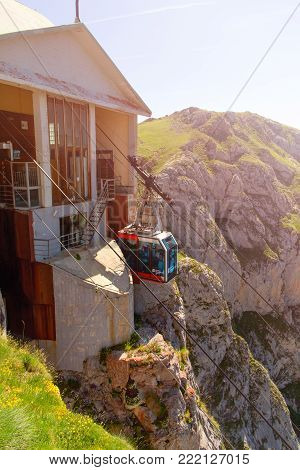 Fuente De, Spain - July 10, 2016: The Cabin Of The Ropeway Teleferico Fuente De. The Cabin Arrives T