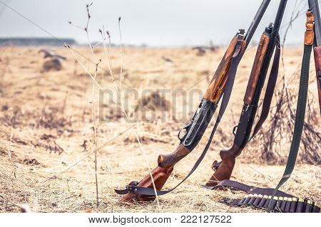 Hunting scene with hunting shotguns and ammunition belt on dry grass in rural field during hunting season as hunting background in wild west style