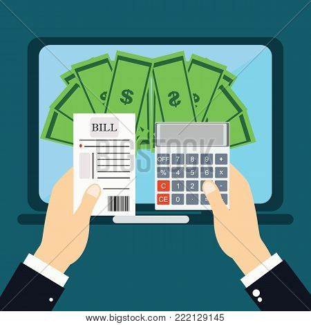 Paying bills, hand holding bills vector.Mobile payment concept. flat vector illustration