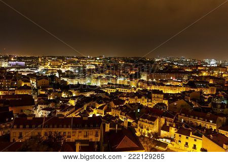 Top view of the night Lisboa, Portugal - Die Nacht von Lissabon, The Night in Lisbon