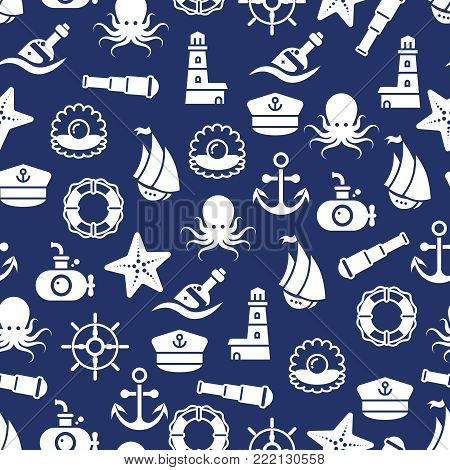 Ocean or sea seamless pattern with anchor boat bottle shell octopus. Ocean patetrn with bottle marine animal. Vector illustration