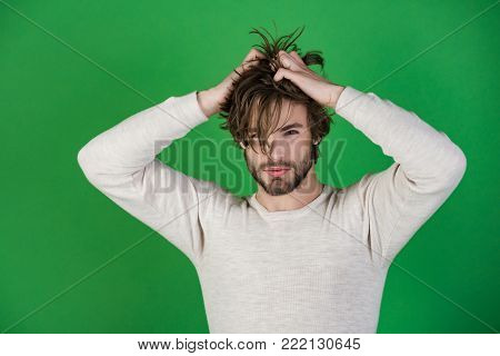 Sleepy Man With Beard On Red Background.
