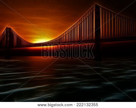 Golden Gate Bridge Painterly Illustration. 3D rendering