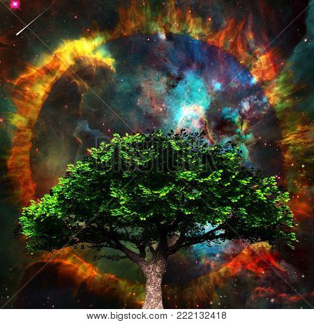 Surreal spiritual composition. Green tree and vivid colorful universe at the background. 3D rendering