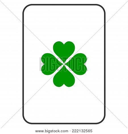 Lucky Clover playing card pictograph. Vector style is a flat symbol of lucky clover on a gambling card.