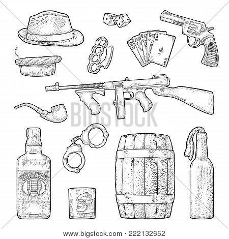 Gangster mafia set. Engraving vintage vector black illustration. Isolated on white background. Hand drawn design element for label and poster
