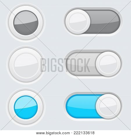 Set of round push buttons and toggle switch buttons. Blue and gray user interface elements. Vector 3d illustration