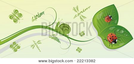 The branch with leaves and insects, vector illustration