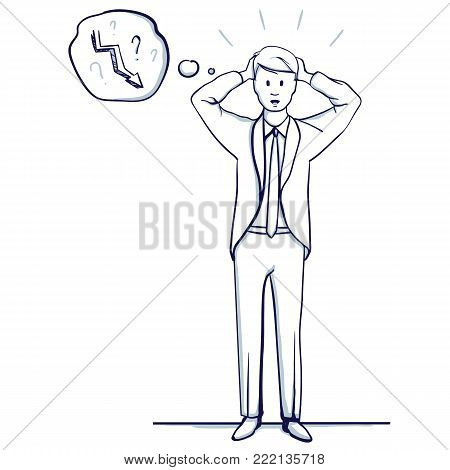 Young business man stands. He holds his hands to his head. The failure, defeat, trend fall. Hand drawn doodle cartoon vector illustration.