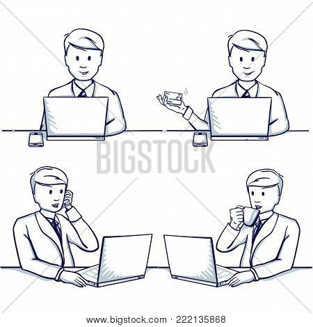Set of business man cartoon illustration. Sitting scenes: business man next to her laptop, make online shopping, talking on mobile phone and drinking tea. Hand drawn doodle vector illustration.