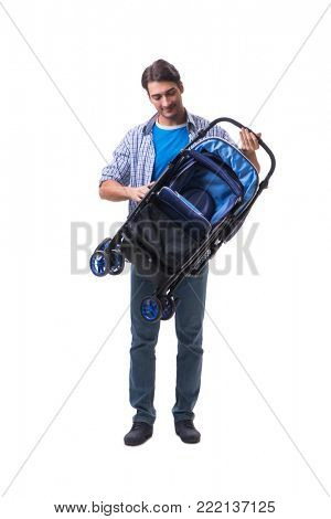 Young dad with child pram isolated on white