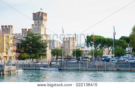 SIRMIONE, ITALY. 26th October 2017. The Scaliger Castle at Sirmione is just one of the many attractions that draws tourists to this pretty little lakeside town.
