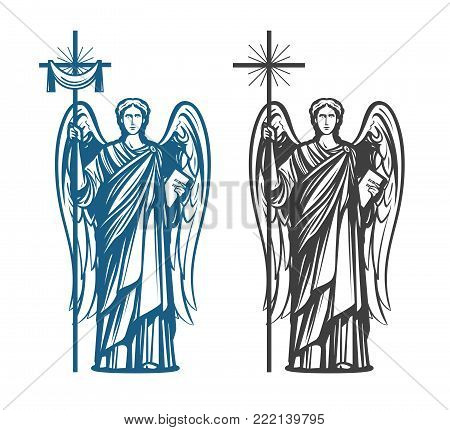 Angel with wings. Religion, belief, worship concept. Vintage sketch vector illustration
