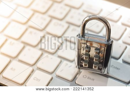 Security Lock On Computer Keyboard - Computer Security And Countermeasure On Data Encryption Concept