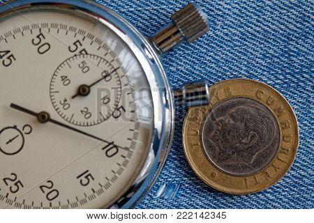 Turkish Coin With A Denomination Of 1 Lira (back Side) And Stopwatch On Old Blue Denim Backdrop - Bu