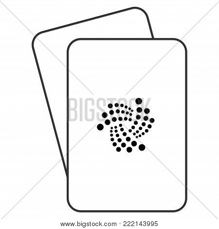 Iota Currency playing cards pictograph. Vector style is gambling card with iota currency symbol.