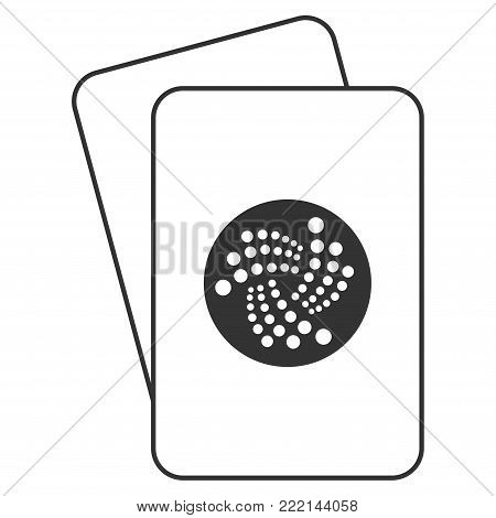 Iota Currency playing cards pictogram. Vector style is gambling card with iota currency symbol.