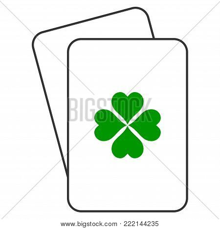 Lucky Clover playing cards icon. Vector style is gambling card with lucky clover symbol.
