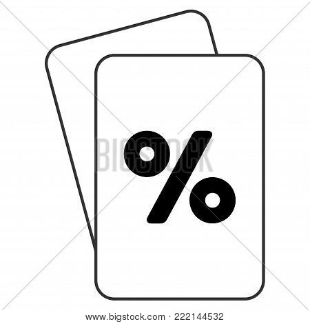 Percent playing cards pictogram. Vector style is gambling card with percent symbol.