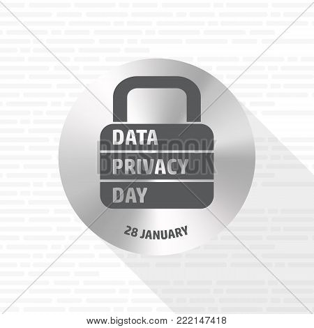 Data Privacy Day. Vector illustration with lock sign.Unofficial Holidays.