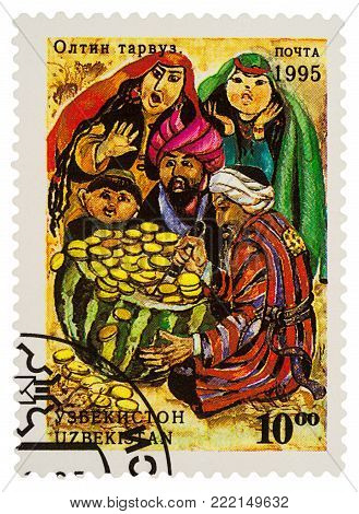 Moscow, Russia - January 15, 2018: A stamp printed in Uzbekistan shows scene from fairy tale