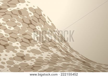 Abstract brown background with hexagon shapes different opacity and various silhouettes.