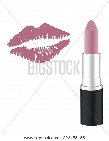 vector illustration of lipstick and lipstick kiss.