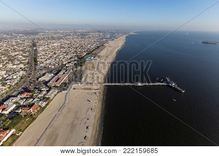 Aerial view of Belmont Pier in Long Beach. California.