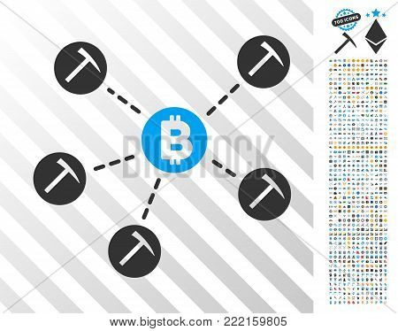 Bitcoin Mining Pool pictograph with 700 bonus bitcoin mining and blockchain icons. Vector illustration style is flat iconic symbols design for bitcoin software.