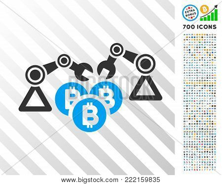 Bitcoin Mining Robotics pictograph with 7 hundred bonus bitcoin mining and blockchain icons. Vector illustration style is flat iconic symbols design for bitcoin apps.