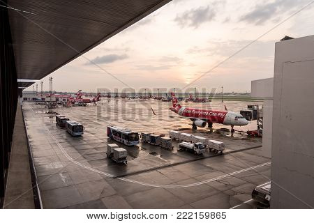 Bangkok, Thailand - May 23, 2017: Airliner Air-asia Airbus At Bangkok Donmuang Airport On May 23, 20