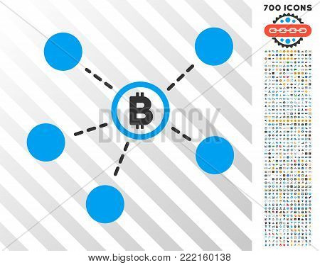 Bitcoin Network icon with 700 bonus bitcoin mining and blockchain graphic icons. Vector illustration style is flat iconic symbols design for bitcoin software.