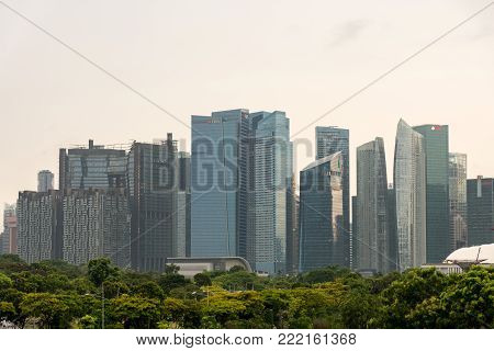 Marina Bay Sands, Singapore - May 23, 2017: Marina Bay Sands View From Marina Barrage On Sunset Time