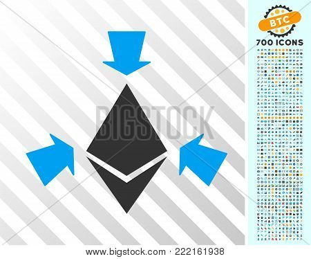 Ethereum Collect Arrows icon with 7 hundred bonus bitcoin mining and blockchain symbols. Vector illustration style is flat iconic symbols design for crypto-currency apps.