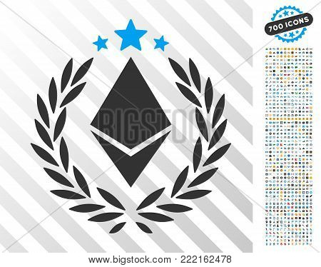 Ethereum Laurel Wreath icon with 7 hundred bonus bitcoin mining and blockchain pictures. Vector illustration style is flat iconic symbols design for cryptocurrency apps.