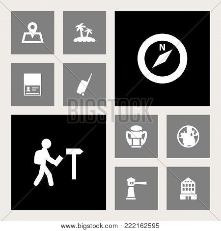 Set of 10 journey icons set. Collection of seamark, traveler, citizenship and other elements.