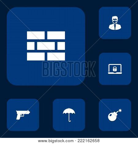 Set of 6 security icons set. Collection of gun, umbrella, special forces and other elements.