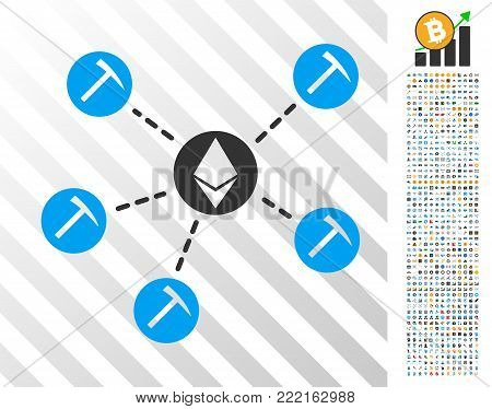 Ethereum Mining Pool icon with 7 hundred bonus bitcoin mining and blockchain design elements. Vector illustration style is flat iconic symbols design for bitcoin websites.