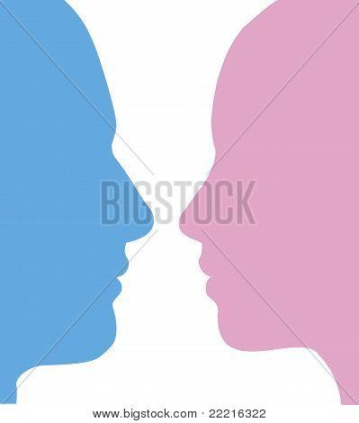 Homem e mulher Faces silhueta