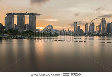Marina Bay Sands, Singapore - May 24, 2017: Marina Bay Sands And Singapore Flyer View From Marina Ba